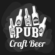 Pub beer and alcohol - stock illustration