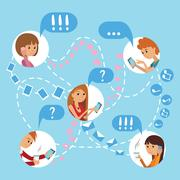 Flat style young people faces online social media communications infographic Stock Illustration