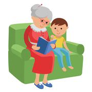 Illustration featuring an elderly woman reading a book for grandson. Stock Illustration