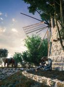 Don Quixote and windmill conception illustration 3d composition - stock illustration