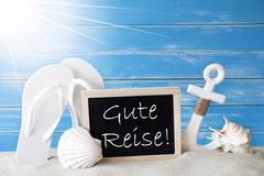 Sunny Summer Card With Gute Reise Means Good Trip Stock Photos