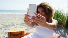 Plus size Ethnic African American female by the ocean  Stock Footage