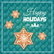 Happy holidays and merry christmas card design Stock Illustration