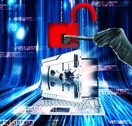 Hacker attacks laptop 3d rendering - stock photo