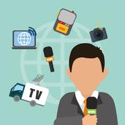 News media and broadcasting - stock illustration