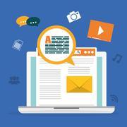Blog, blogging and blogglers theme Stock Illustration