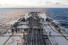 Crude oil tanker forward part of the deck. Stock Photos