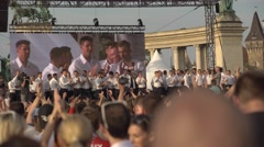 Hungarian football team celebration Stock Footage