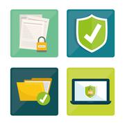 Privacy and security system graphic icons Stock Illustration