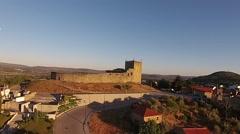 Aerial shot of medieval Castle Belmonte Stock Footage