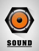 Music speaker equipment and technology - stock illustration