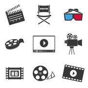 Movie and videofilm entertainment - stock illustration