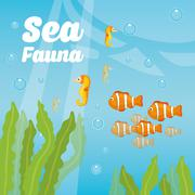 Sea fauna cartoon - stock illustration