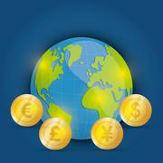 Money and global economy - stock illustration