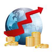 Money and global economy - stock illustration