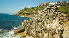 Australia Coastline Intriguing Rock : Time Lapse Stock Footage
