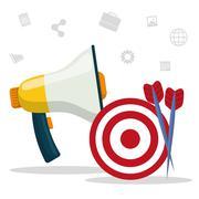 Digital marketing and advertising - stock illustration
