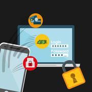 Security system and surveillance - stock illustration