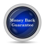 Money back guarantee icon. Internet button on white background.. - stock illustration
