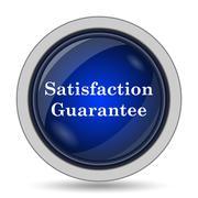 Satisfaction guarantee icon. Internet button on white background.. - stock illustration