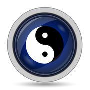 Ying yang icon. Internet button on white background.. - stock illustration