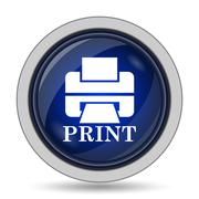 Printer with word PRINT icon. Internet button on white background.. - stock illustration