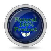100 percent natural product icon. Internet button on white background.. Stock Illustration