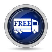 Free delivery truck icon. Internet button on white background.. - stock illustration