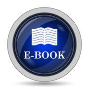 E-book icon. Internet button on white background.. - stock illustration
