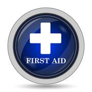 First aid icon. Internet button on white background.. Stock Illustration