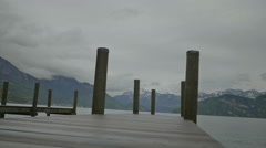 Cloudy Mountain View from Jetty - 29,97FPS NTSC Stock Footage