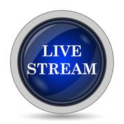 Live stream icon. Internet button on white background.. - stock illustration