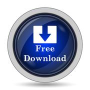 Free download icon. Internet button on white background.. - stock illustration