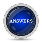 Answers icon. Internet button on white background.. - stock illustration