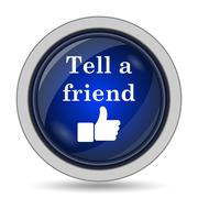 Tell a friend icon. Internet button on white background.. Stock Illustration