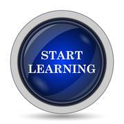 Start learn icon. Internet button on white background.. Stock Illustration