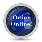 Order online icon. Internet button on white background.. - stock illustration