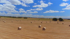 AERIAL: Flying above beautiful straight golden field of bales of hay and straw Stock Footage