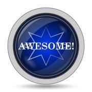Awesome icon. Internet button on white background.. - stock illustration