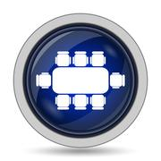 Business meeting table icon. Internet button on white background.. - stock illustration