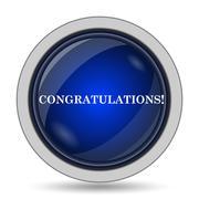 Congratulations icon. Internet button on white background.. - stock illustration