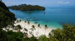 Bird eye view of Angthong national marine park, koh Samui, Suratthani, Thailand Stock Footage