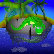 Crocodile lies on a big stone near the river Stock Illustration