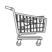 shopping cart with bags inside icon - stock illustration