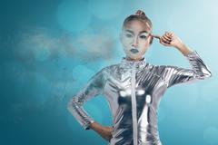Young pretty asian woman inside digital world Stock Photos