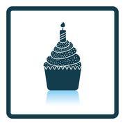 First birthday cake icon - stock illustration
