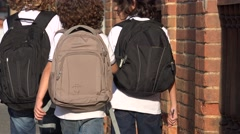 Elementary Students Wearing Backpacks Stock Footage