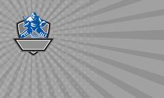 Business card Ice Hockey Goalie Crest Retro Stock Illustration
