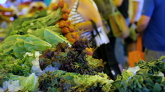 Organic vegetables from the local farm at the Summer Farmers Market. Stock Footage