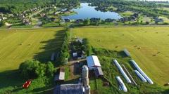 Amazing idyllic rural suburb with beautiful houses on lake. Stock Footage